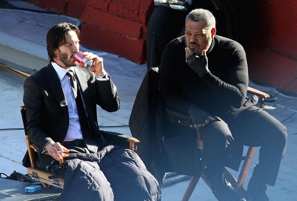 Laurence Fishburne and Keanu Reeves on John Wick 2 Set