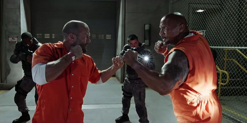Jason Statham and Swayne Johnson in Fate of the Furious