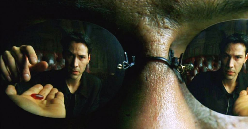 Morpheus Presenting the Red and Blue Pills in The Matrix