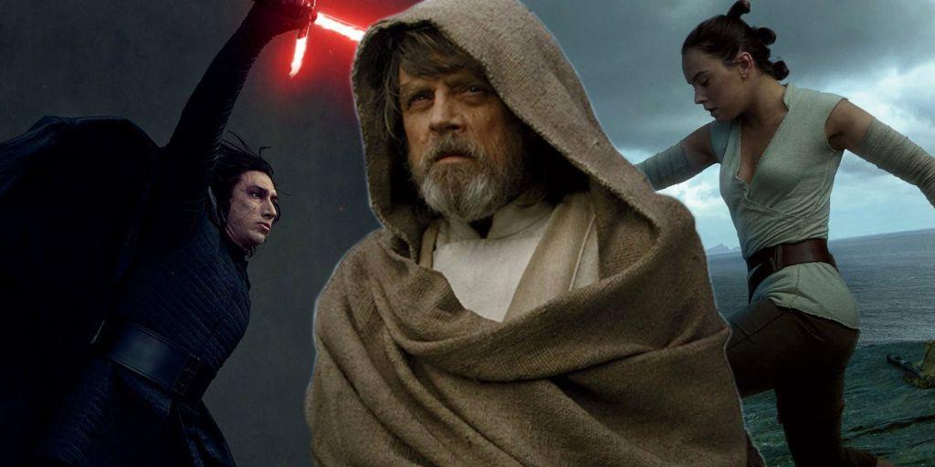 Kylo Ren and Luke Skywalker and Rey in Last JEdi